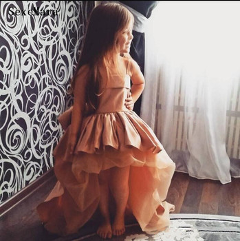 New Arrival Baby Girls Birthday Dress Pink Satin Champagne Puffy Tulle High Low Kids Pageant Dress Party Gown with Bow
