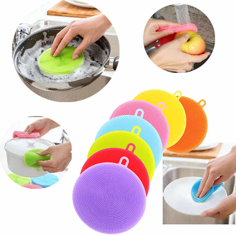 Multifunction Silicone Dishes Bowl Cleaning Silicone Scouring Pad Vegetables Fruit Cleaner Washing Tool for Babies Dinnerware