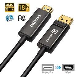 DisplayPort/DP na HDMI kabel światłowodowy  wsparcie 4 K/60Hz 4:4:4 HDMI2.0 standardowy port wyświetlacza DP  aby kabel adapter HDMI