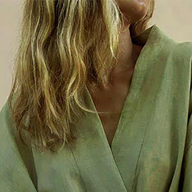 女性の V ネック着物カーディガンミニドレスホワイトコットンリネン長袖サッシレースアップドレス女性 2019 夏緩い vestidos