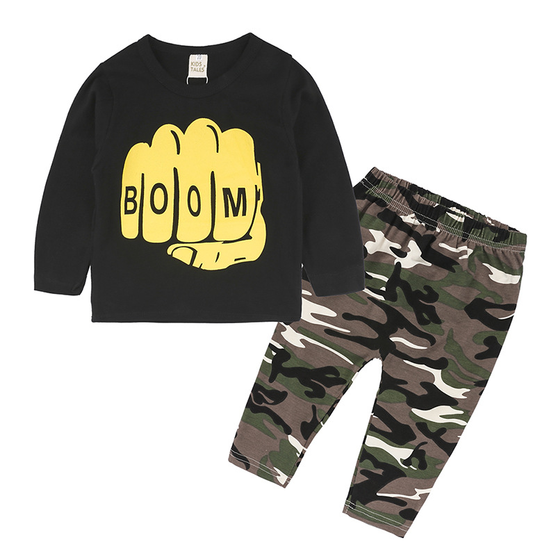 Baby Boys Clothes Sets Kids Casual Long Sleeve Boom Printed T-shirt+Camouflage Pants Autumn Baby boy Tracksuit Clothing Outfits