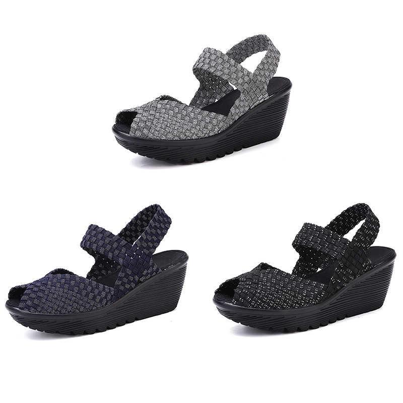 EOFK Giày Xăng Đan Nữ Đế Xuồng Giày Mùa Hè Người Phụ Nữ Nền Tảng Mới Handmade Dệt Giày Sandal Peep Toe Thoải Mái Nữ Dép Nữ
