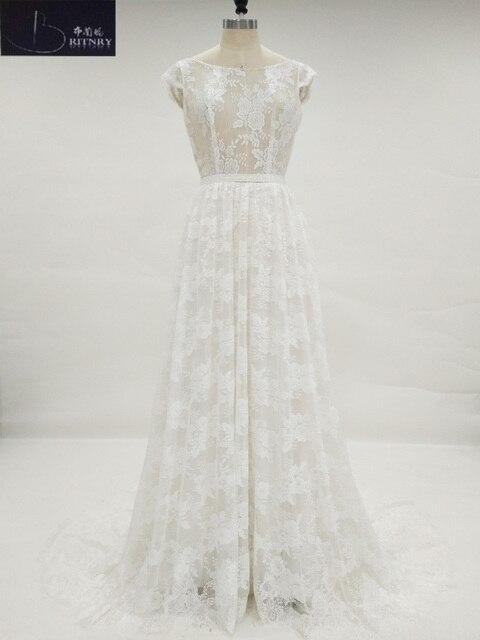 Retro Ivory Suknia Illusion Gorset Plaża Piętro Długość Suknia