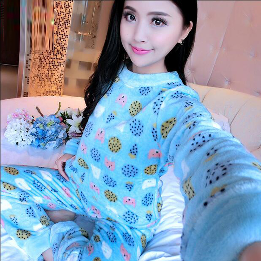 2017 Womens Pyjamas Long Sleeve O-Neck Flannel Pajamas Sets Warm Sleepwear Nightwear Homewear For Women Pijamas Mujer