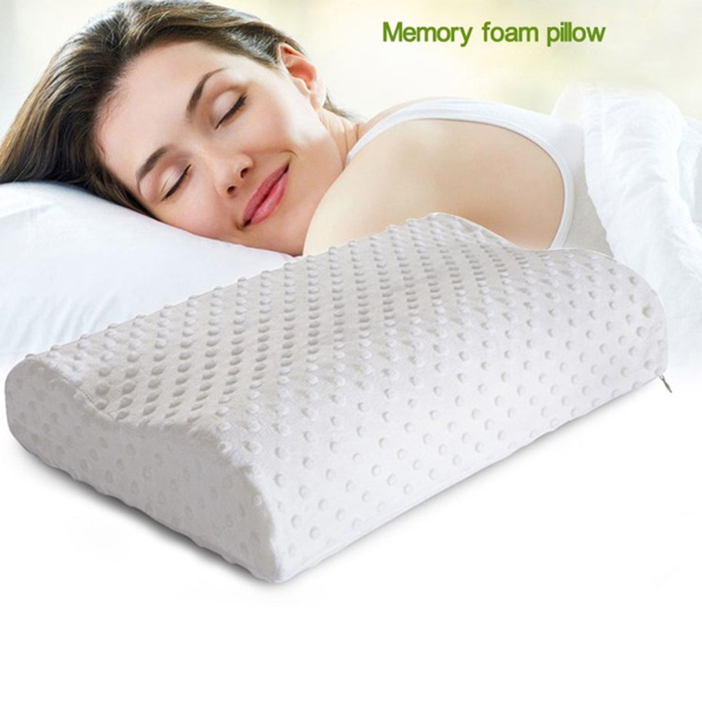 1pc orthopedic neck pillow fiber slow rebound memory foam pillow cervical health care orthopedic latex neck