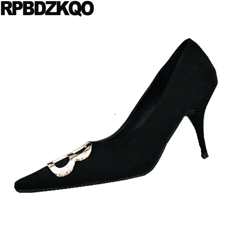 Suede Pumps Thin High Heels Dress Party Metal 2018 Closed Size 4 34 Autumn Evening Stiletto Ladies 8cm Pointed Toe Shoes Black shoesofdream ladies high heel closed pointed toe solid plain pumps decoration handmade for wedding party dress stiletto shoes