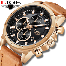 цена на New LIGE Big Dial Business Watch Men Sport Quartz Clock Mens Watches Top Brand Luxury Waterproof Leather Watch Relogio Masculino