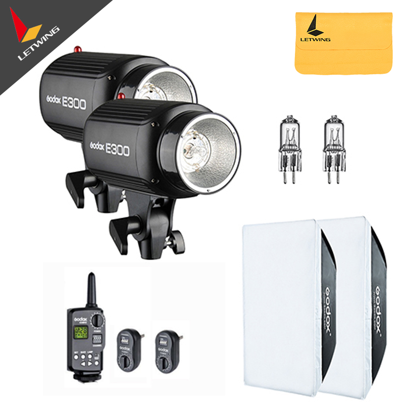 2x <font><b>Godox</b></font> <font><b>E300</b></font> 300W Photo Studio Strobe Flash Light Head with Trigger & Softbox & Spare Modeling Lamp image