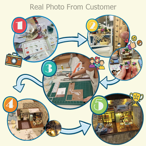 Image 5 - Cutebee 인형 집 가구 소형 인형 집 DIY 소형 집 방 상자 극장 어린이 스티커 DIY 인형 집 E