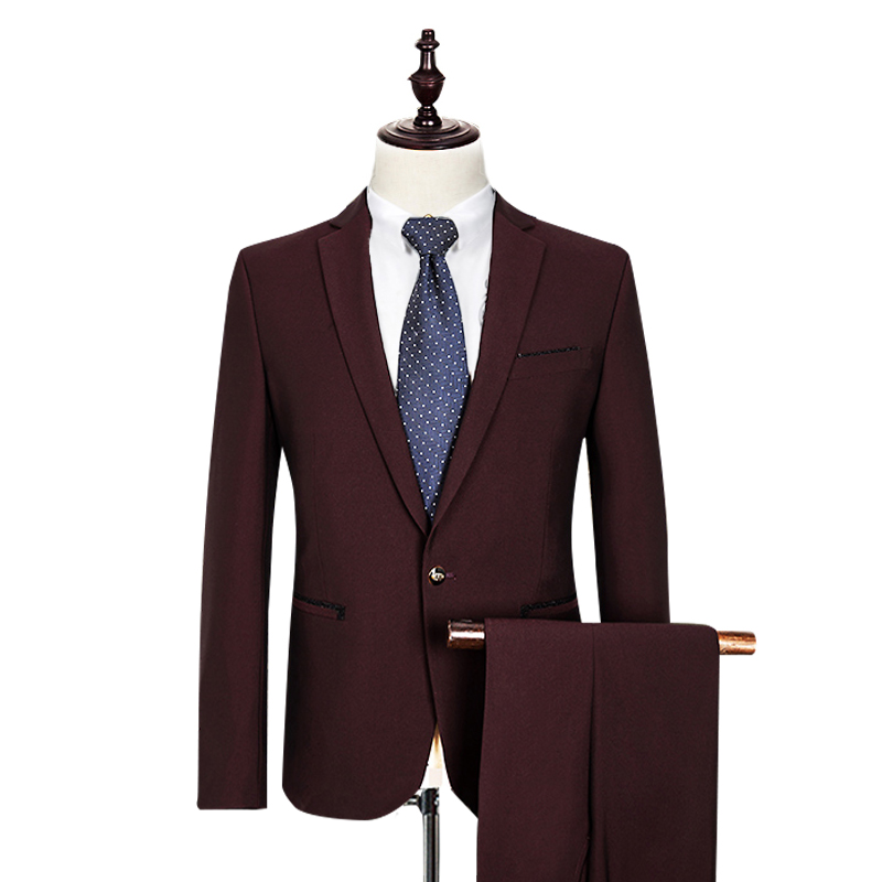 (Jackets+Pants) Wine Red Solid Color Fashion Dress Mens Suits Brand Blazer Suits Business Formal Wear High Quality Gent Life