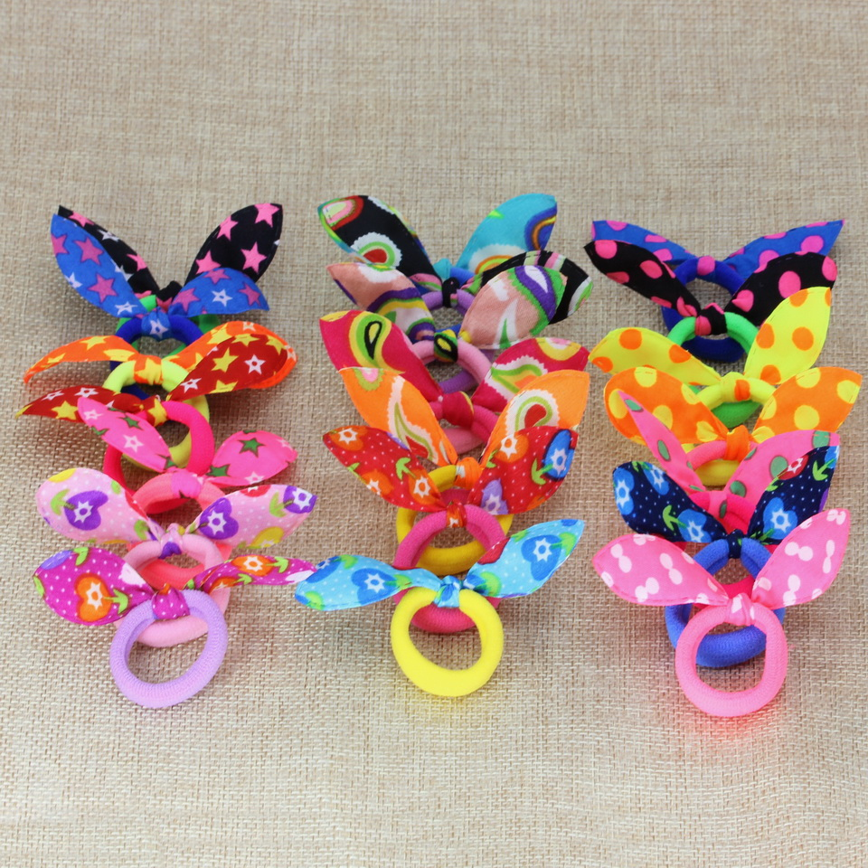 isnice 50pcs Young Girl Hair accessories Colorful Hair bands with cute ears Star peacock and with flower   headwear   or hair Clips