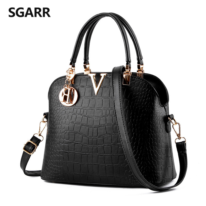 SGARR Luxury Women PU Leather Handbags Fashion Women's Bags Shoulder Bag Designer Crocodile Crossbody Casual Black Totes Bags ly shark crocodile cowhide leather women messenger bags luxury handbags women bags designer crossbody bags women shoulder bag