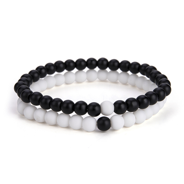 2 Pcs/Set Natural Stone 6 mm Small Beads Couple Bracelet 2