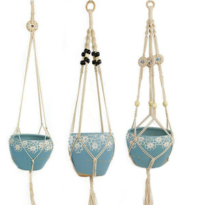 Image 3 - Retro Macrame Plant Hanger Garden Flower Pot Holder Hanging Rope Basket Decor Hanging Basket Wall Creativity