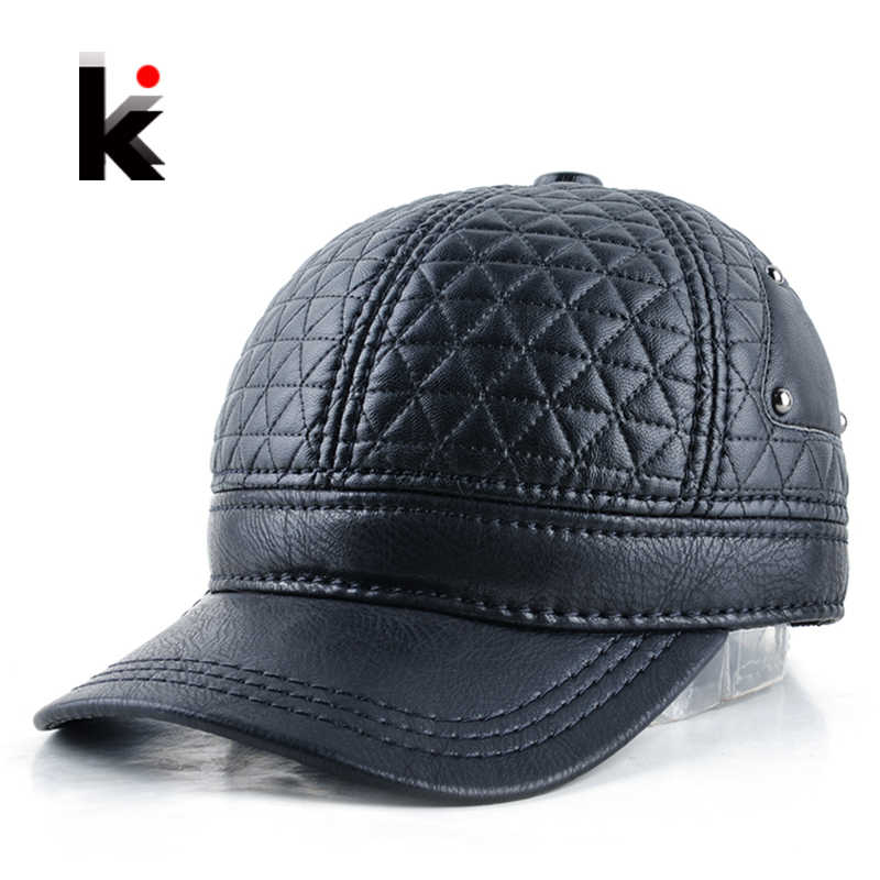 2018 Mens winter leather cap warm plaid hat baseball cap with ear flaps russia adjustable snapback hats for men casquette
