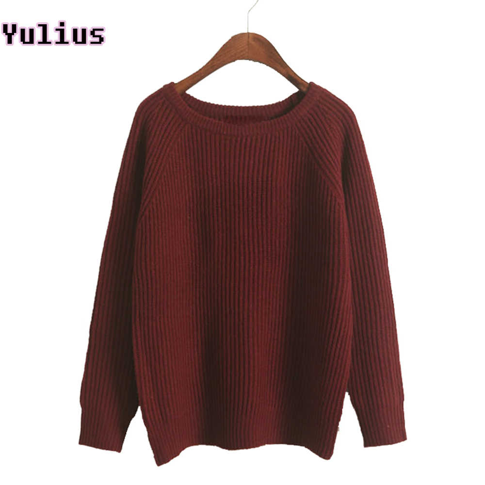 2019 Korean Style Female Soft Knitted Pullover Autumn Winter Thick Women Sweater Gray Burgundy Loose Crew Neck Jumper Sweaters