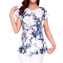 5XL 2018 Women Ladies Clothing Tops short Sleeve printing Shirts Casual Boat anchor Blouse Silk female woman clothes plus size