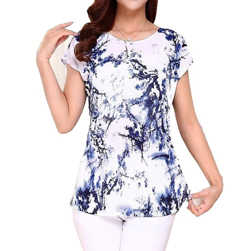 5XL Women Ladies Clothing Tops Short Sleeve Printing Shirts Casual Boat Anchor Blouse Silk Female Woman Clothes Plus Size