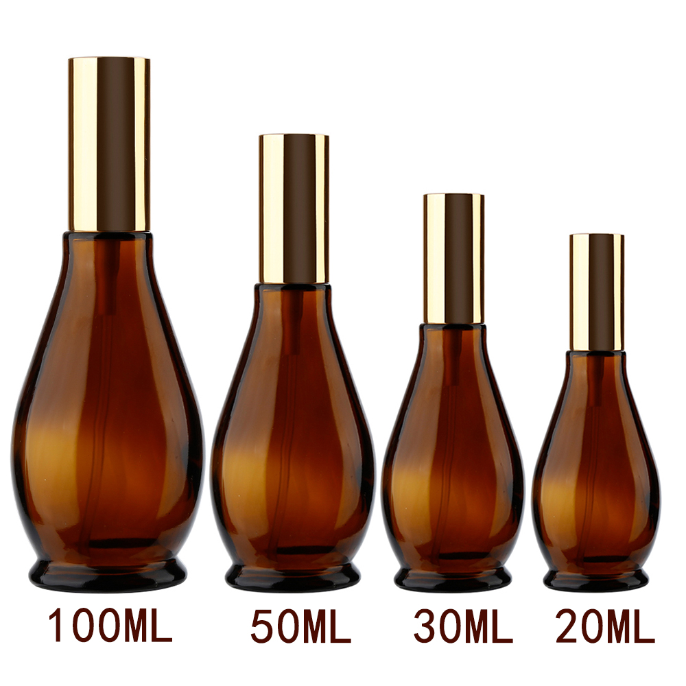 4 Sizes Gourd-shaped Empty Amber Glass Refillable Perfume Atomizer Bottle Container Cosmetic Sprayer Travel Pot Portable 6pcs 1oz 30ml amber glass spray bottle w black fine mist sprayer refillable essential oil bottles empty cosmetic containers