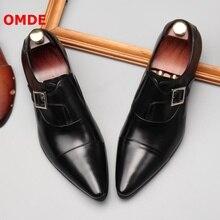 OMDE/кожаные лоферы с пряжкой; Мужские модельные туфли с острым носком; мужские туфли-оксфорды без застежки; Роскошная официальная обувь; мужские свадебные туфли