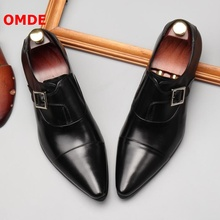 OMDE Leather Buckles Loafers Pointed Toe Mens Dress Shoes Slip On Oxford Shoes For Men Luxury Formal Shoes Men's Wedding Shoes berdecia new mens glitter wedding shoes italian pointed toe mens shoes slip on oxford shoes for men