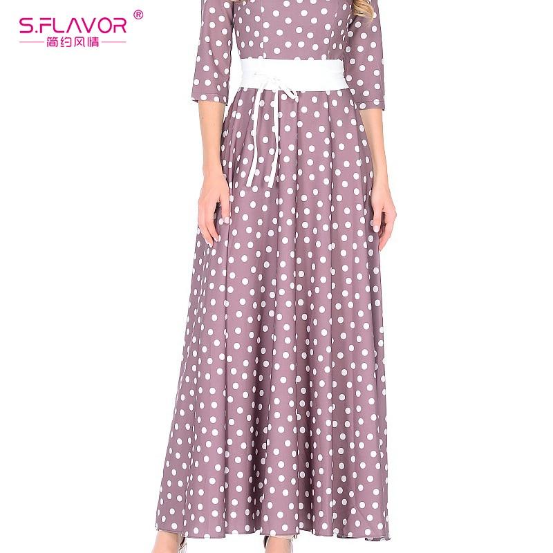 S.FLAVOR Purple Color Dot Wave Retro Long Dress 3/4 Sleeve Slim Women Party Dresses Elegant O-neck Winter Vestidos De Festa
