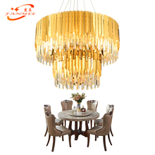 Round Crystal Chandelier Lighting Restaurant Modern Pendant Hanging Lamp Living Dining Room Fixture
