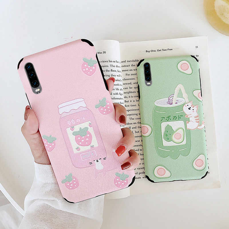 Fashion Anti-fall 3D Relief Cute Fruit Milk Pattern Pink Case For Huawei P30 P20 P10 Pro Lite Honor 8X 10 V10 V20 Play Soft Capa
