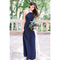 2019 Elegant Navy Blue Bridesmaid Dresses Backless Spaghetti Strap A Line Floor Length Long Bridesmaid Party Gowns Cheap