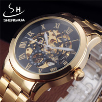 Shenhua Watch Men Gold Automatic Mechanical Skeleton Watches Fashion Male Clock Roman Stainless Steel Wristwatch Reloj Hombre