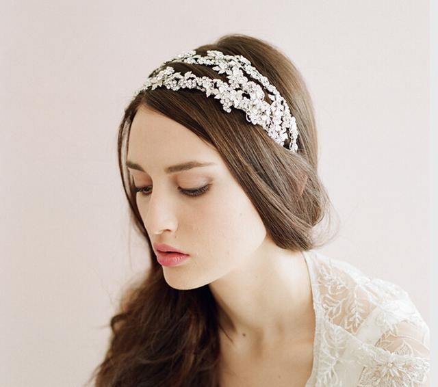 2016 Real imagem grânulos de prata nupcial acessórios baratos Modest partido das senhoras da forma acessórios do cabelo do casamento Sexy