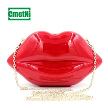 купить Trend personality red lips fashion messenger bag acrylic dinner party ladies shoulder bag clutch bag по цене 960.03 рублей