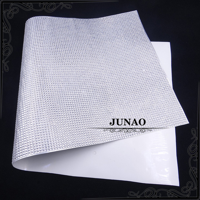 JUNAO 52 25mm Clear White Color Self Adhesive Rhinestones Stickers Crystal  Mesh Trim Resin Appliques 7bc63225d63b