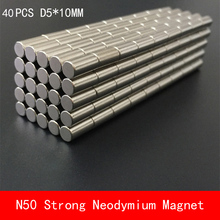 wholesale 40PCS D5*10mm cylinder N50 powerful magnetic force neodymium magnets magnet diameter 5X10MM