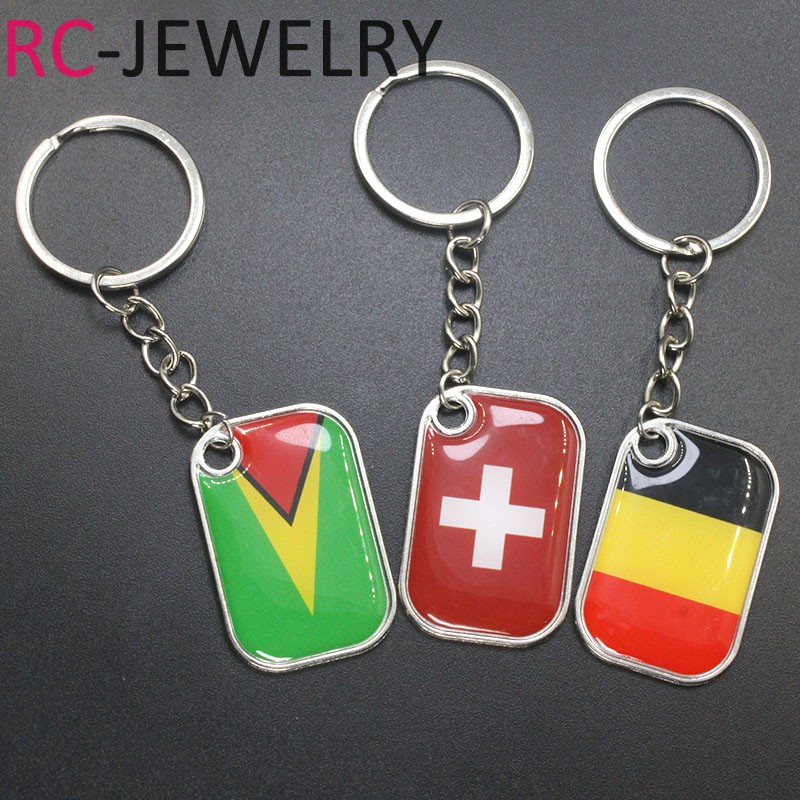 Switzerland Guyana Belgium Flag Logo keychain Silver Plated Charms Key ring vintage national symbolic Jewelry Father Day Gift