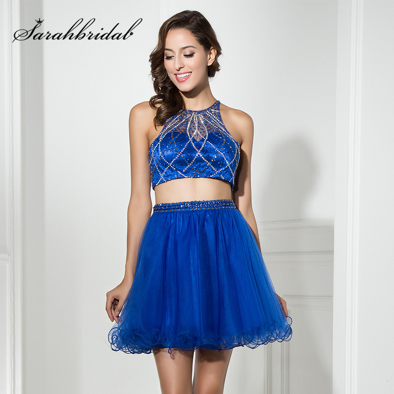 Glitter Beading Sequined 2 Pieces Royal Blue   Cocktail     Dresses   2017 Tulle Sleeveless Zipper Back Short Mini Evening Party Gowns