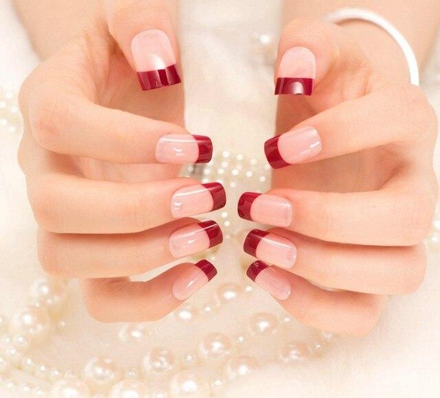 New Lady nails Red Matte Fake Nails Metallic Gold French False Nail ...