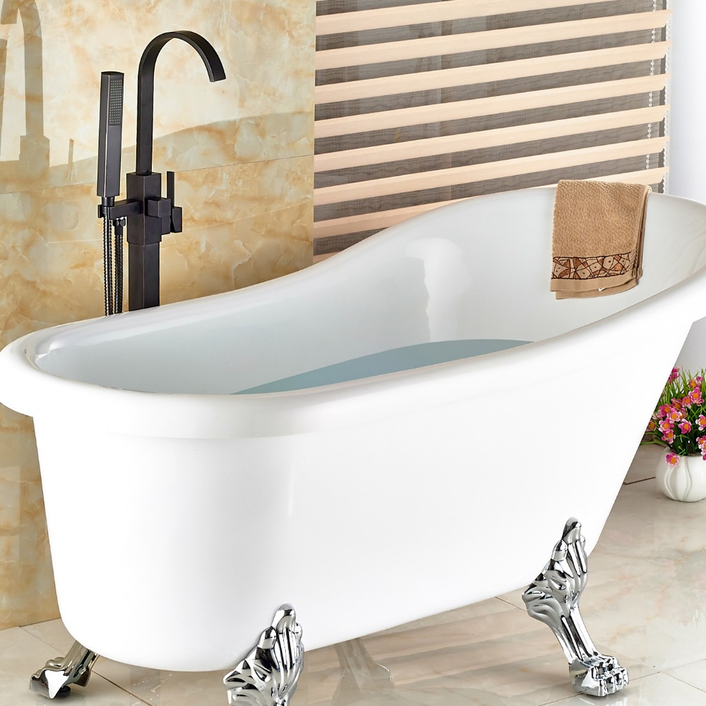 floor mount tub faucet oil rubbed bronze. Wholesale And Retail Modern Oil Rubbed Bronze Bathroom Tub Faucet Floor  Mounted Free Standing Mixer Tap Filler Hand Shower in Faucets from Home