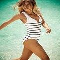 One Piece Playsuit Sem Encosto Sexy Sportwear Stripped Zipper Mulheres Maiô Summer Beach Wear Monokini Bandagem Macacão