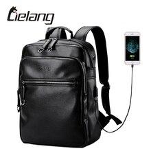 LIELANG Backpack Men External USB Charge Computer Bag 14 Inch Waterproof Laptop Leather Backpack New Designer Men School Bags