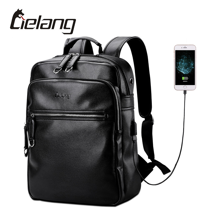 LIELANG Leather Backpack Men External USB Charge Laptop Backpacks Bag 14 Inch Waterproof New Designer Computer Bags College Pack