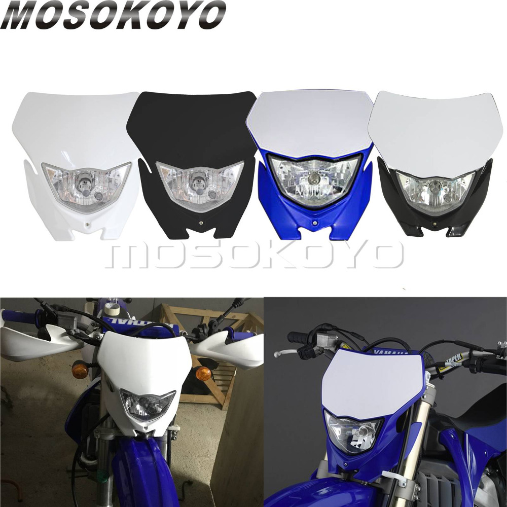 White Blue Motocross Headlight MX Enduro Dirt Bike Head Light Mask For Yamaha WR250R YZ450F YZ250F LXR 250F
