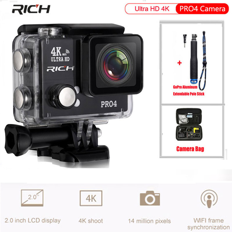 Ultra HD 4K Action Camera Wifi 1080P 170 Wide Lens Waterproof 45M Sport Camera+Aluminum Extendable Pole Stick+Camera Bag soocoo action camera c20 full hd 1080p wifi waterproof 170 wide angle sports cam extra aluminum extendable pole stick bag