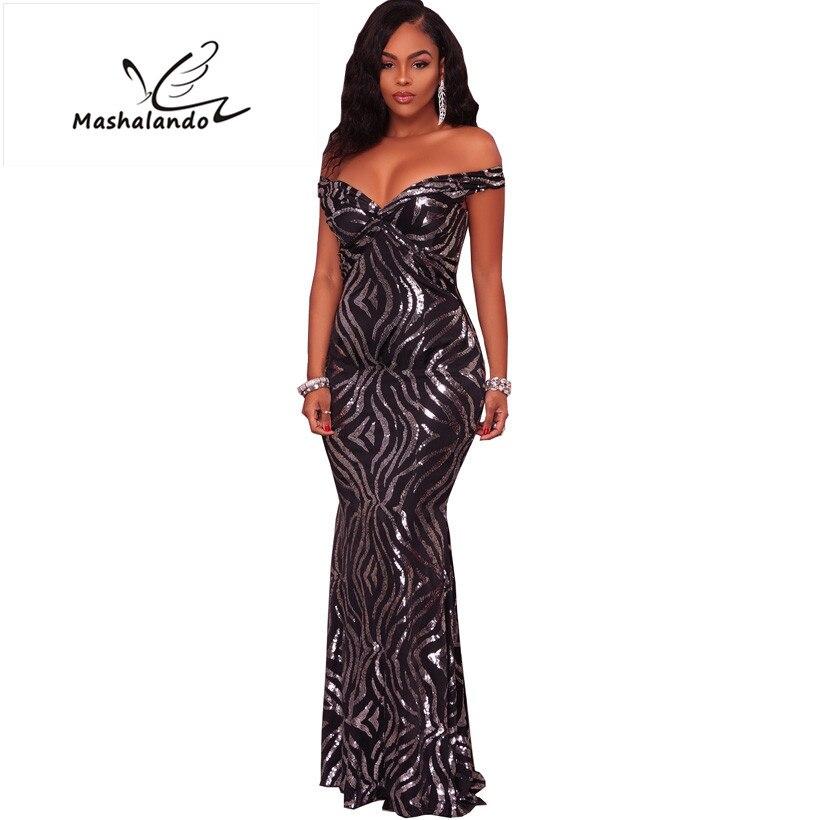 07168ee0685 Sexy Sequin Maxi Dresses 2019 Brand Design V-Neck Slim One-Piece Dress Black  Short Sleeve Winter Party Dress Women Floor Length