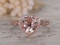 Solid 14 k Rose Goud 8mm Hartvormige Cut Roze Morganite Edelsteen Diamond Halo Engagement Verjaardag Bruiloft Belofte Ring Band