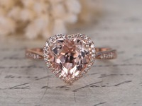 Solid 14k Rose Gold 8mm Heart Shaped Cut Pink Morganite Gemstone Diamond Halo Engagement Anniversary Wedding Promise Ring Band