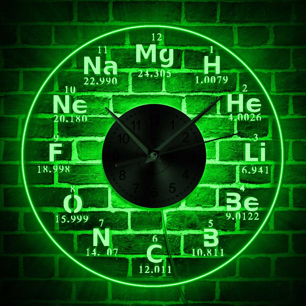 1Piece Transparent Clock Dial Vision LED Wall Clocks Luminous Chemical Element Periodic Glow Wall Clock 3D Watches Home Clocks