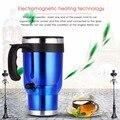 450 ml 12 V Universal Del Coche Taza de Calentamiento de Acero Inoxidable Té Café Calentador de Agua Automático Climatizada Taza del Viaje Encendedor adaptador