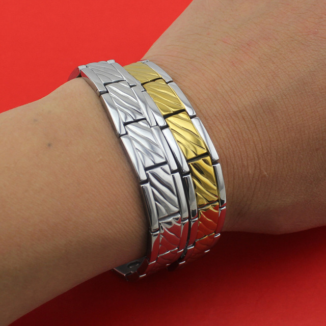 2017 New Hot Selling Fashion Gold/Silver Women/Men's Power Germanium Magnetic Energy 316L Stainless Steel Bracelet TG04119