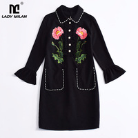 New Arrival 2017 Autumn Women S O Neck Long Sleeves Luxury Embroidery Elegant Maxi Prom Runway